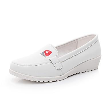 Damen-Loafers & Slip-Ons-Outddor Büro-Leder-Keilabsatz-Komfort-