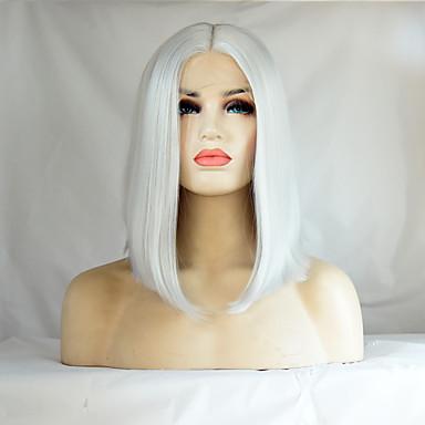Kvinder Syntetiske parykker Blonde Forside Medium Rett Hvit Bob med midtskill Naturlig hårlinje Midtskill Bobfrisyre Naturlig parykk