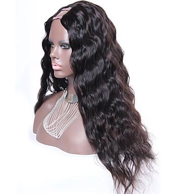 Ekte hår Parykk Vann Bølge 130% tetthet 100 % håndknyttet Afroamerikansk parykk Naturlig hårlinje Kort Medium Lang Dame Blondeparykker