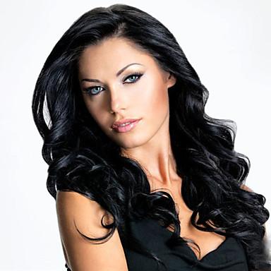 Pelucas sintéticas Rizado Corte asimétrico Pelo sintético Entradas Naturales Negro Peluca Mujer Larga Sin Tapa