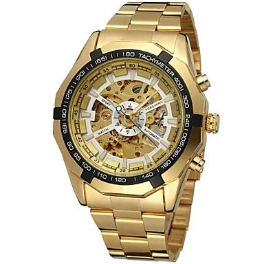 baratos Relógios Homem-FORSINING Homens Relógio Esqueleto Relógio de Pulso relógio mecânico Automático - da corda automáticamente Aço Inoxidável Dourada Gravação Oca Analógico Luxo Fashion - Dourado Branco Preto