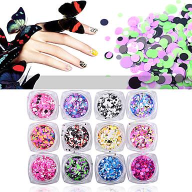 12pcs Purpurina Paetês arte de unha Manicure e pedicure Diário Glitters / Neon & Bright / Fashion
