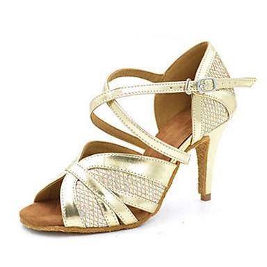 Mulheres Sapatos de Dança Latina / Sapatos de Jazz / Sapatos de Salsa Courino Sandália / Salto Lantejoulas / Presilha Salto Personalizado
