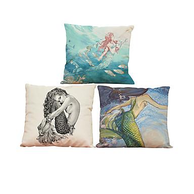 3 PC Lino Natural/Orgánico Funda de almohada Cobertor de Cojín, Un Color Con Texturas Casual Estilo playero Euro Reforzar