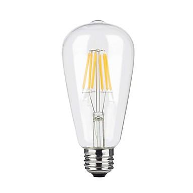 1pc 6W 600lm E26 / E27 LED-glødepærer ST64 6 LED perler COB Mulighet for demping Varm hvit 110-130V