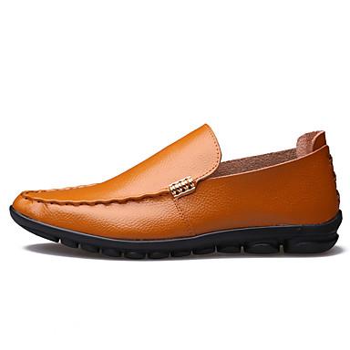 Herre sko Lær Vår / Høst Mokkasin / Trendy støvler En pedal Gul / Brun / Blå / Fest / aften / Lærsko