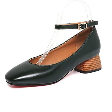 Verano 05568254 Bajo Marrón PU cuadrada Primavera Cuadrado Con Cordón Confort Zapatos Dedo Suelas Tacón luz Negro Tacones con Mujer Tacón HqSvtnn