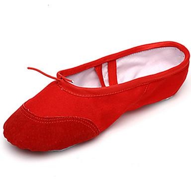 Dame Ballettsko Semsket lær / Tekstil Hel såle Innendørs / Ytelse / Trening Flat hæl Kan spesialtilpasses Dansesko Svart / Rød / Rosa