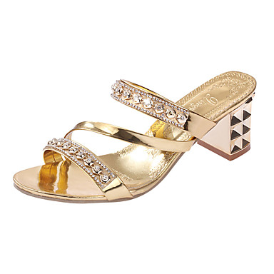 be0b45992560 Women s Crystal Sandals PU(Polyurethane) Spring   Summer Comfort Heels Low  Heel Rivet Gold   Silver