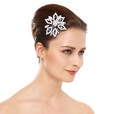 Imitação de Pérola Strass Presilha de cabelo 1 Casamento Ocasião Especial Capacete