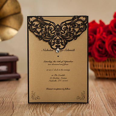 Dobrado no Topo Convites de casamento Convites para Festas de Noivado Bachelorette Party Cartões Conjuntos de Convites Cartões de convite