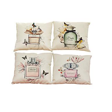 4.0 PC Lino Natural/Orgánico Funda de almohada Cobertor de Cojín, Un Color Con Texturas Estilo playero Tradicional/Clásico Oficina/