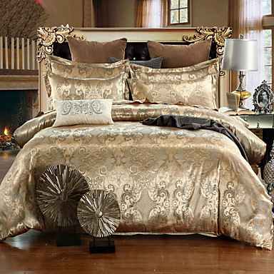 cheap Home Textiles-Duvet Cover Sets Luxury Silk / Cotton Blend Jacquard 4 PieceBedding Sets / 500 / 4pcs (1 Duvet Cover, 1 Flat Sheet, 2 Shams)