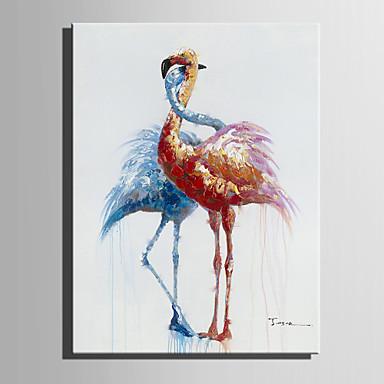 Pintura a Óleo Pintados à mão - Animais Modern / Estilo Europeu Tela de pintura / Lona Laminada