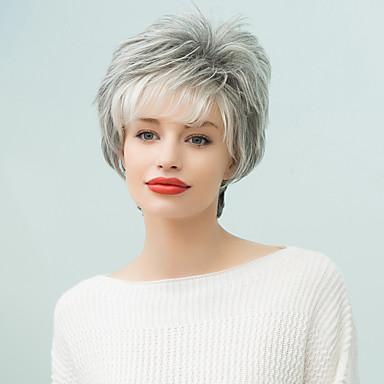 Human Hair Capless Parykker Ekte hår Naturlige bølger Klassisk Høy kvalitet Maskinprodusert Parykk Daglig