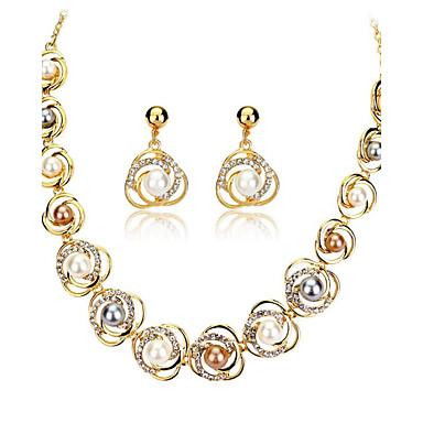 للمرأة مجموعة مجوهرات - مطلية بالذهب عيار 18, اللؤلؤ أوروبي تتضمن ذهبي من أجل زفاف حزب يوميا