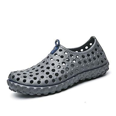 남성 샌들 워터 슈즈 조명 신발 구멍 신발 컴포트 PU 여름 캐쥬얼 플랫 블랙 그레이 카키 네이비 블루 플랫