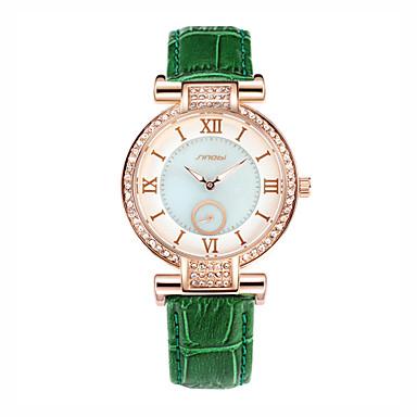 בגדי ריקוד נשים יהלוםSimulated שעון שעוני אופנה קווארץ עמיד במים עור להקה ירוק