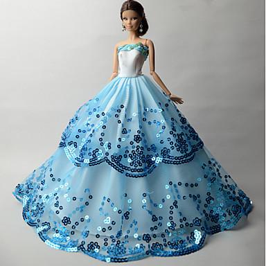 Fiesta/Noche Vestidos por Muñeca Barbie  Organdí Lentejuela Vestido por Chica de muñeca de juguete