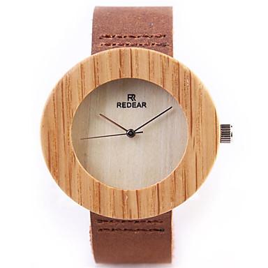 baratos Relógios Homem-Homens Mulheres Relógio de Moda Único Criativo relógio Relógio Madeira Quartzo Couro Marrom / Analógico Casual - Marron