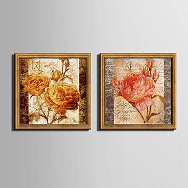 Innrammet Lerret Innrammet Sett Blomstret/Botanisk Veggkunst, PVC Materiale med ramme Hjem Dekor Rammekunst Stue Soverom Kjøkken