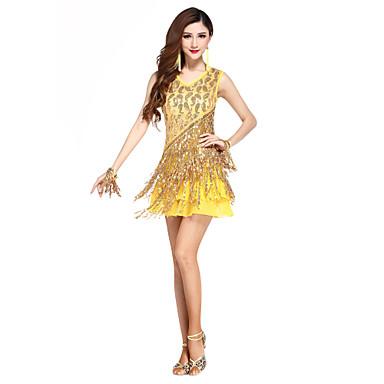 Latin tánc Ruhák Női Teljesítmény Spandex 1 darab Ujjatlan Magas Ruha