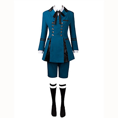 مستوحاة من أسود بتلر Ciel Phantomhive أنيمي أزياء Cosplay الدعاوى تأثيري سادة كم طويل ربطة عنق / قميص / بلايز من أجل للرجال كوستيوم هالوين