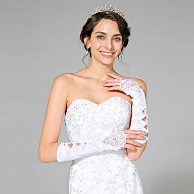 Satin-Ellenbogenlänge Handschuh Brauthandschuhe mit elegantem Stil
