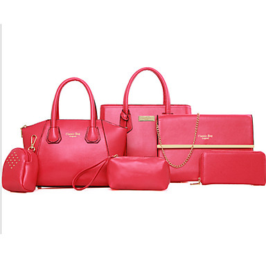 f9a6baa2fd Γυναικεία Τσάντες PU Σετ τσάντα 6 σελ. Σετ πορτοφολιών Καρφιά Μονόχρωμο  Φούξια   Κόκκινο   Μπλε   Τσάντα Σετ