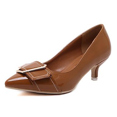 Mulheres Sapatos Courino Primavera Verão Conforto Saltos Caminhada Salto Sabrina Dedo Apontado Presilha para Casual Social Preto Marron