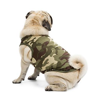 Gato Cachorro Camiseta Moletom Colete Roupas para Cães camuflagem Preto Laranja Verde Azul Rosa claro Algodão Terylene Ocasiões Especiais