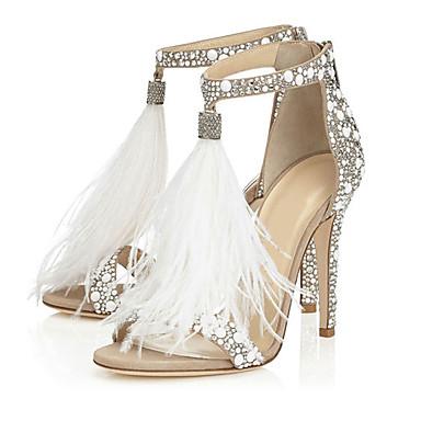 hesapli Kadın Sandaletleri-Kadın's Sandaletler Kristal Sandalet Stiletto Topuk Burnu Açık İnci / Püsküllü Kırpma Bahar / Yaz Beyaz / Düğün / Parti ve Gece / Parti ve Gece