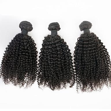 Az emberi haj sző Perui haj Kinky Curly 6 hónap 3 darab haj sző