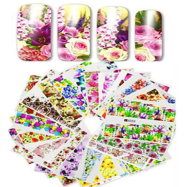 1set 48pcs mixed full cover wrap nail art watermark sticker beautiful  flower image design water transfer decals nail set decoration a49 96 0959d7753ffe