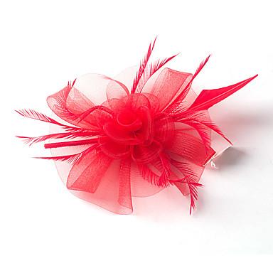 Fjær / Nett fascinators / blomster med 1 Bryllup / Spesiell Leilighet Hodeplagg