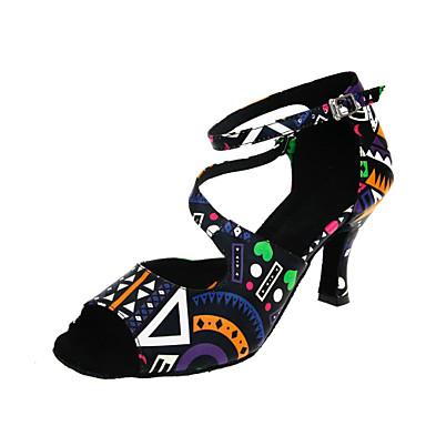 للمرأة أحذية رقص جلد صندل / كعب مشبك كعب مخصص مخصص أحذية الرقص أسود / متخصص