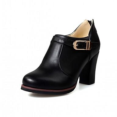 Mulheres Sapatos Courino / Couro Ecológico Primavera / Verão Conforto / Inovador Saltos Caminhada Salto Robusto Ponta Redonda Preto / Bege