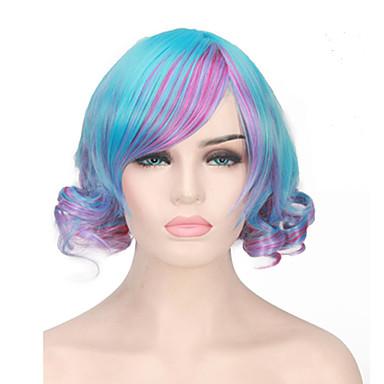 الاصطناعية الباروكات / باروكات مخصصة نسائي مموج أزرق Bobfrisyre شعر مستعار صناعي أزرق شعر مستعار دون غطاء أزرق
