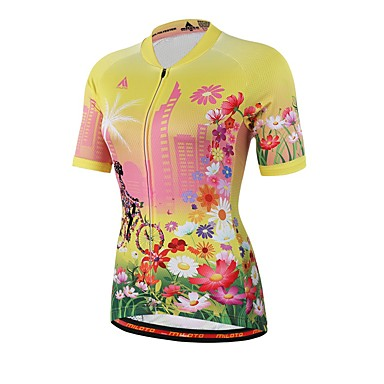 Miloto Unisex Short Sleeve Cycling Jersey Floral   Botanical Bike Jersey Top  Sweat-wicking Sports 83da98bf6