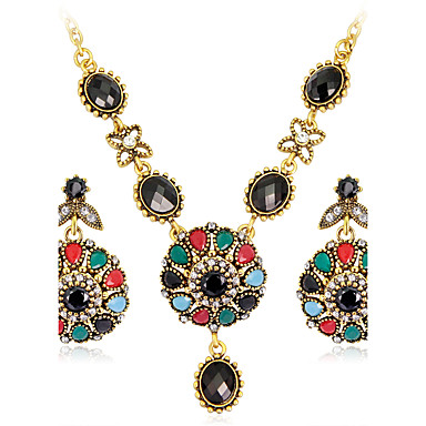مجموعة مجوهرات - راتينج, حجر الراين, مطلية بالذهب ترف, قديم, بوهيميان تتضمن التقزح اللوني من أجل حزب / مناسبة خاصة / تقليد الماس