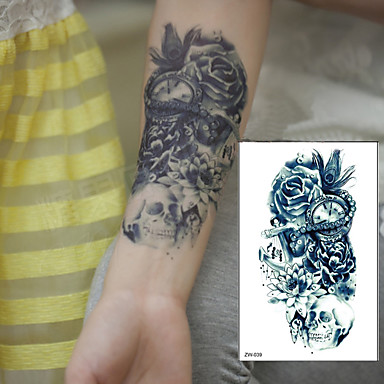 1 pcs Tatuagem Adesiva Tatuagens temporárias Séries Flores / Arte Deco/Retro Impermeável / 3D Arte para o Corpo Braço