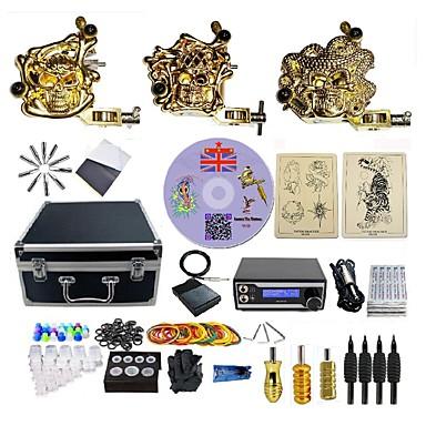 Tattoo Machine Profesjonell Tattoo Kit 3 x legering tatovering maskin for fôr og skyggelegging LED strømforsyning 1 x Aluminiumsgrep / 4