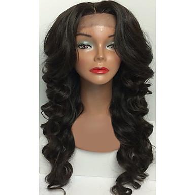 Ekte hår Blonde Forside Parykk Bølget 130% tetthet 100 % håndknyttet Afroamerikansk parykk Naturlig hårlinje Kort Medium Lang Dame