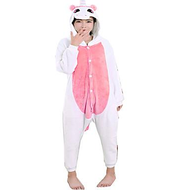 Kigurumi-pysjamas Enhjørning Onesie-pysjamas Kostume Flanell Fleece Rosa Cosplay Til Voksne Pysjamas med dyremotiv Tegnefilm Halloween