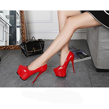 Mulheres Sapatos Couro Ecológico Primavera / Outono Sapatos clube Saltos Salto Agulha Dedo Apontado Branco / Preto / Vermelho / Casamento / Festas & Noite / Festas & Noite