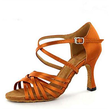 Mulheres Sapatos de Dança Latina / Sapatos de Jazz / Sapatos de Salsa Cetim Sandália / Salto Lantejoulas / Presilha Salto Personalizado