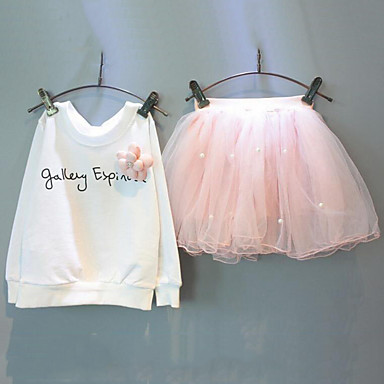 مجموعة ملابس كم طويل حصى طباعة ورد أناقة الشارع فتيات أطفال