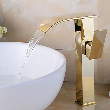 Moderne Art Deco/Retro Centersat Forskyll Foss Utbredt Keramisk Ventil Enkelt håndtak To Huller Nikkel Børstet, Baderom Sink Tappekran