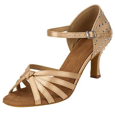 Mulheres Sapatos de Dança Latina Seda Sandália Cristal / Strass Salto Cubano Personalizável Sapatos de Dança Nú / Espetáculo