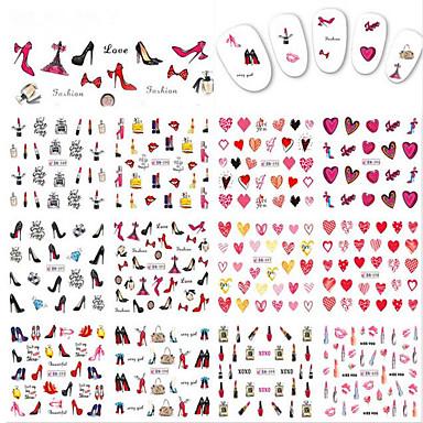 12designs/Set ملصقات ملصق نقل المياه فن الأظافر تجميل الأظافر والقدمين ملصقات مصقولة / تصميم شعبي جميل / مسمار الشارات يوميا / مواعدة / عيد الحبّ